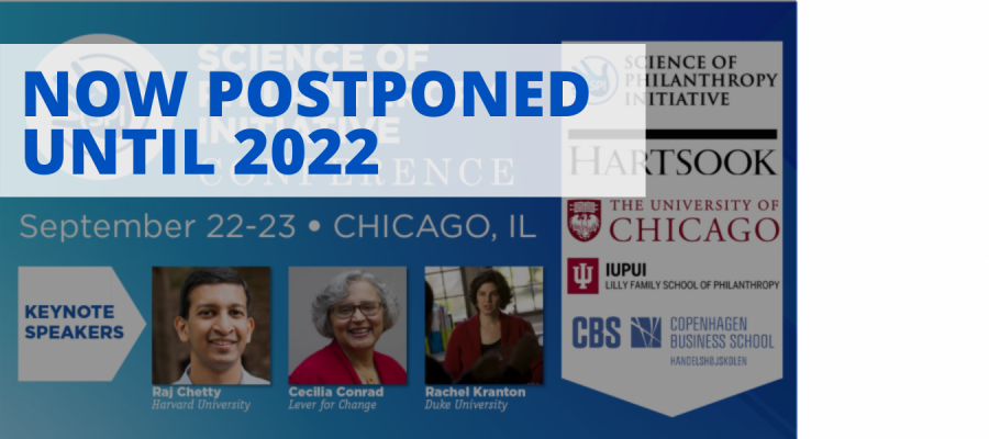 Conference Banner 8th Annual Science of Philanthropy Conference September 22-23, 2021 Chicago, IL- POSTPONED