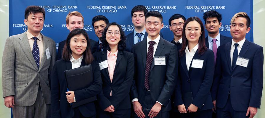 Winners of the 2019 Fed Challenge pose together