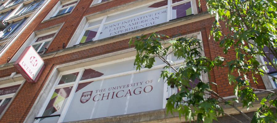A view of windows on a UChicago building